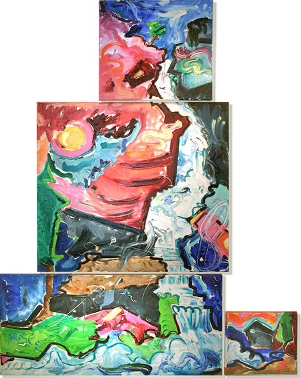 """NFS A001 2007 'Waterfall Abstract' - 4-part Polyptych 48""""x60"""" overall"""