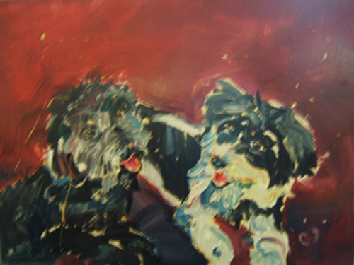 "SOLD AN001 2009 'Doggies at Play' 24""x18"""