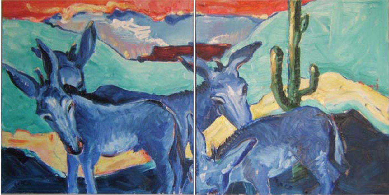 "SOLD AN004 2009 'Blue Donkeys in the Desert' Diptych. 30""x30"" 30""x30"" (also in Landscape)"