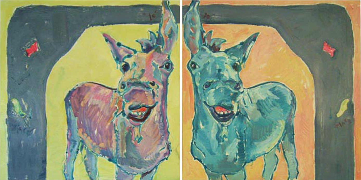 "AN006 2010 'Silverjack Smiling' Monotype Diptych, 2@36""x36"" (total 6' x 3')"