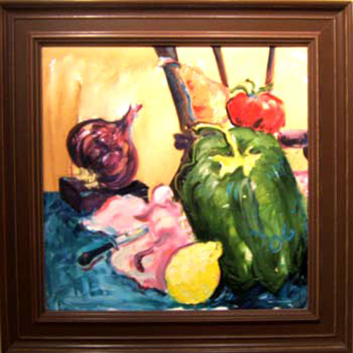 "SOLD K003 2006 'Bell Pepper, Onion and Lemon' 24""x24"""
