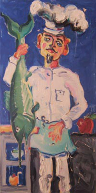 "K007 2009 'Fishy Chef' 18""x36"""