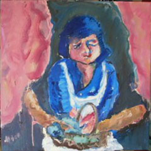 "SOLD K008 2010 'Servant  Woman after Soutine' 24""x24"" oil"