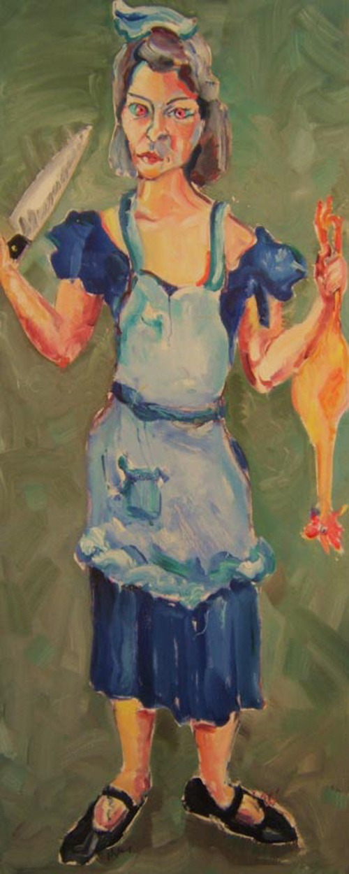 "SOLD K010 2010 'Woman (Ann) with Knife' and Rubber Chicken' 24""x60"""