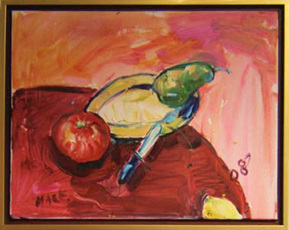 "K013 2008 'Three Fruit with Pairing Knife' 20""x16"""
