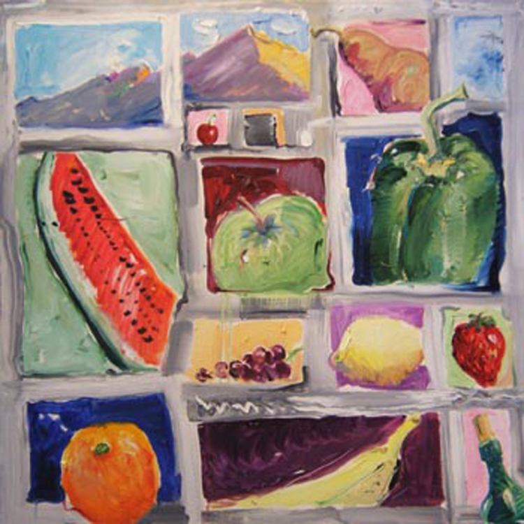 "SOLD K014 2009 'Fruit Squares by Mt. Sopris' 36""x36"""