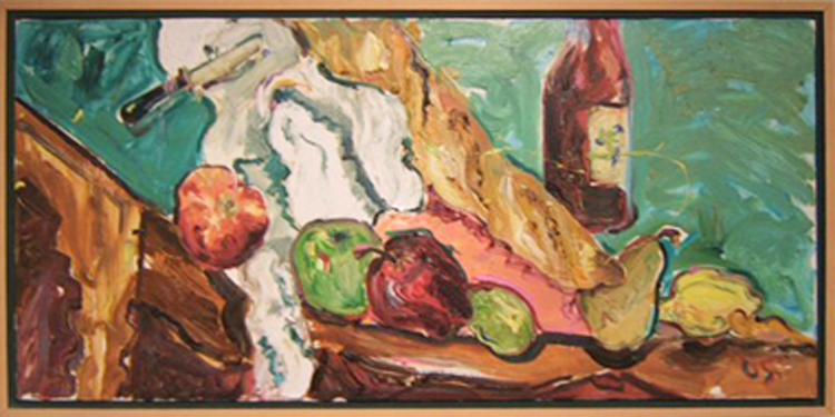 "K016 2005 'Fruit, Bread, Wine' 36"" x 18"""