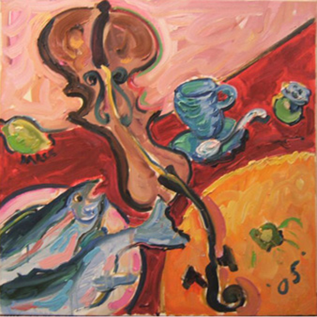 "K020 2005 'Fiddle, Fish & Orange' 30""x30"" (also in Still Life)"