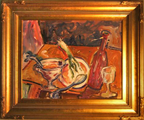 "SOLD K023 2004 'Still Life with Soup and Leek' 24""x20"" (framed)"