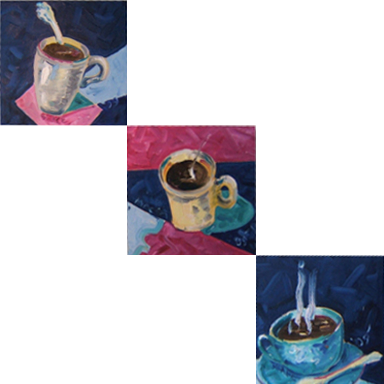 "K025 2010 'Coffee Cups' Triptych, 3'12""x12"" (36""x36"" total)"