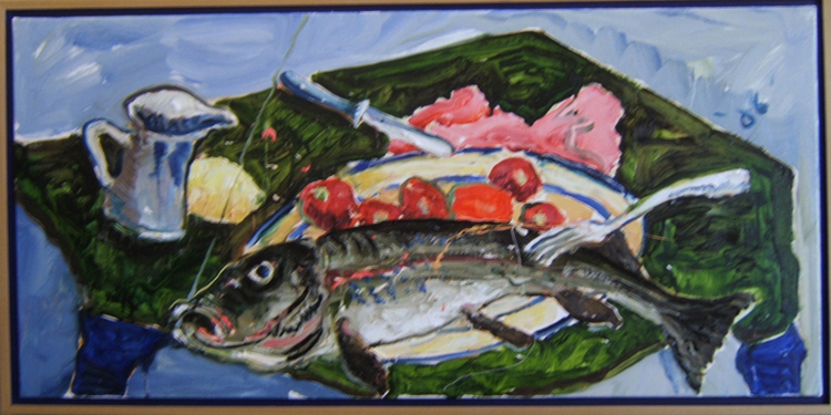 "SOLD K026 2007 'Fish, Tomatos, and Fork' ""36""x18"""