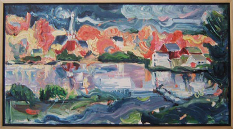 "SOLD L009 2002 'Lake Hebron, Maine' 36""x20"""