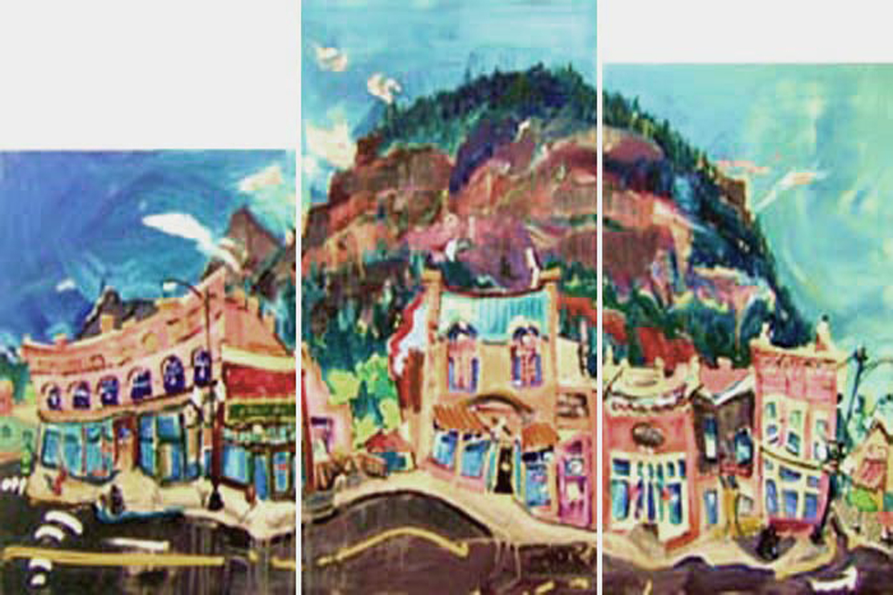 "SOLD L021 2009 'Ouray Block' Tryptch 20""x30"" 20""x40"" 20""x36"" (60""x40"" total)"