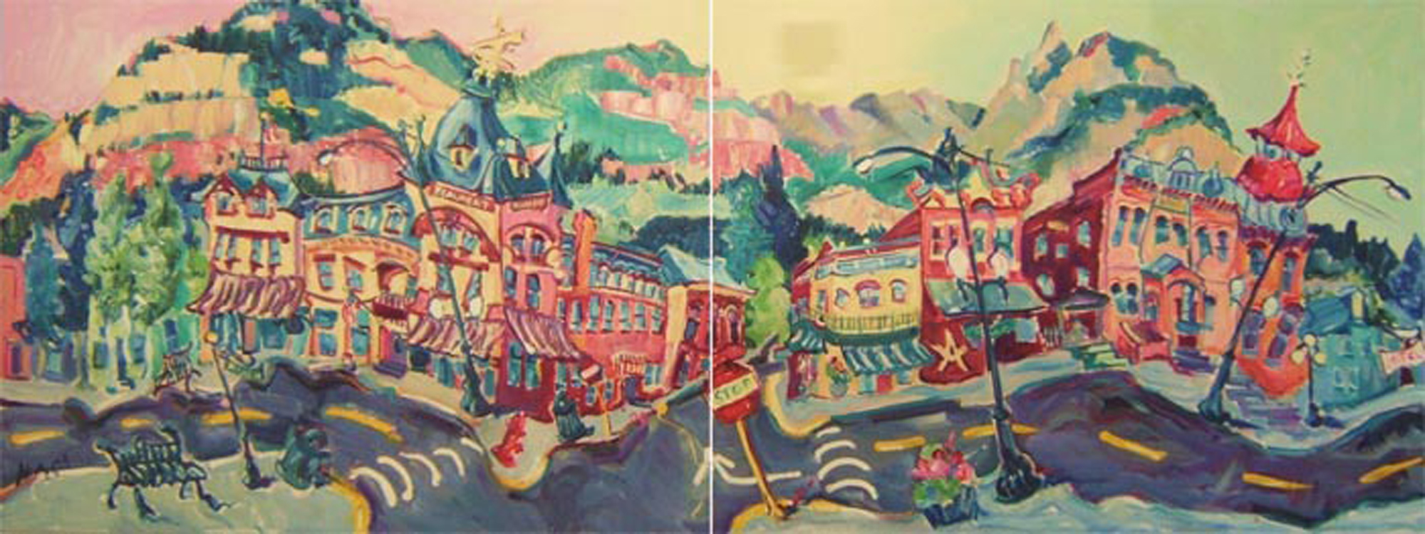 "SOLD L022 2009 'Beaumont, Elks, Masons, Downtown Ouray' Diptych. 48""x36"" 48""x36"""