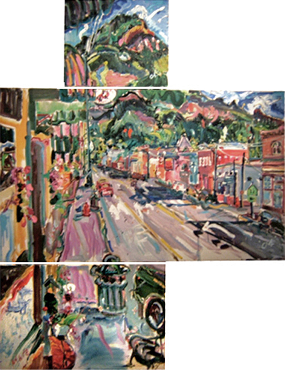 "SOLD L023 2004 'Main Street Ouray' Tryptch 17""x17"" 47""x27"" 27""x17"" (47"" x61""total)"