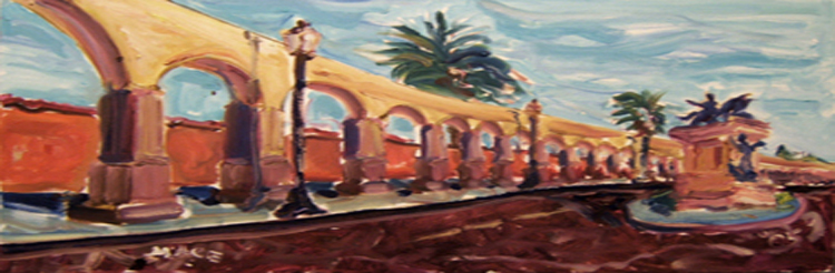 "SOLD L038 2005 'Morelia Aquaduct' 36"" x 12"""