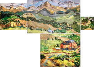 L047 2006 'Sneffels Range & Ranch' 4-part Polyptych
