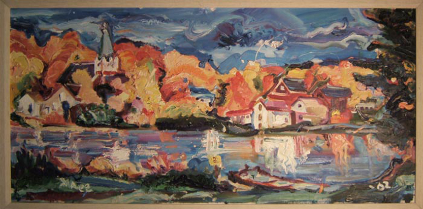 "SOLD L048 2002 'Lake Hebron, Monsoon, Maine' 40""x20"""