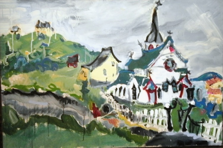 "L065 2015 'Anglican Church Trinity Newfoundland' 36""x24"" (framed)"