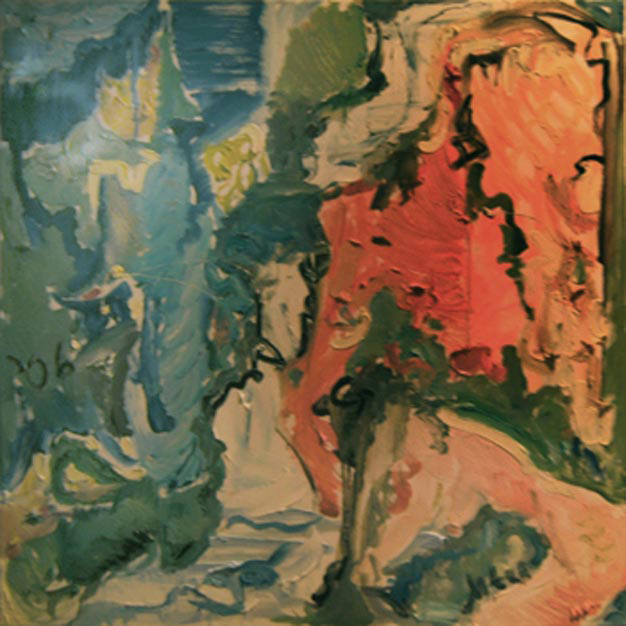 "N011 2006 ""Waterfall with Nude Bather"" 30""x30"" (also in Nudes)"