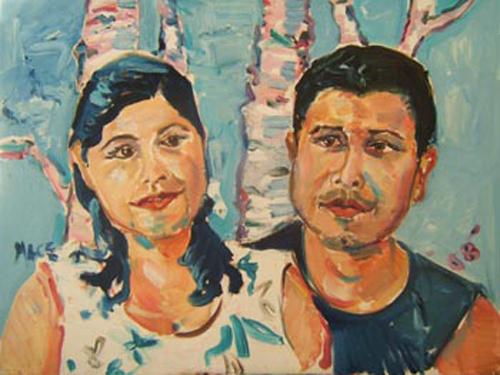 "SOLD P006 2008 'Mexican Couple' 24""x18"""
