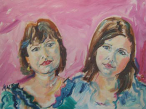 "SOLD p008 2008 'Mom and Daughter' 24""x18"""