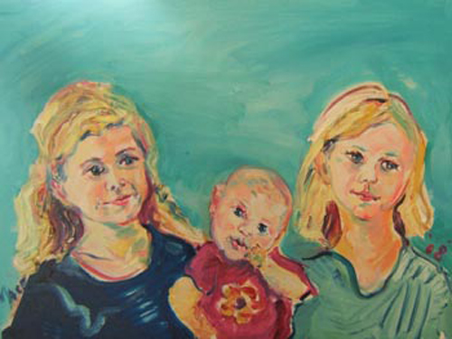 "SOLD P010 2009 'Three Children' 24""x18"""