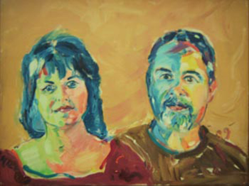 "SOLD P022 2009 'Colorful Couple' 24""x18"""