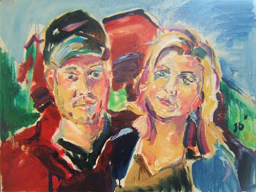 "SOLD P032 2010 'Oklahoma Couple' 24""x18"""