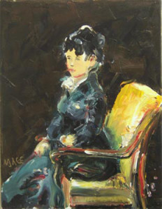 """P033 2010 'Seated Woman After Goya' 14""""x18"""""""