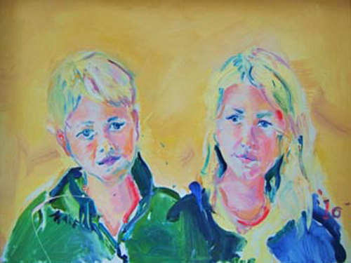 "SOLD P037 2010 'Blond Siblings' 24""x18"""