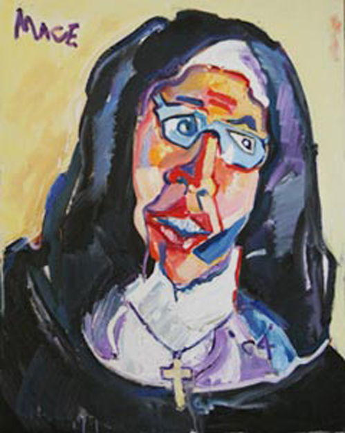 "P065 'Sister Wendy' 24""x30"" - 'Sister Wendy Beckett, Art Historian, Contemplates Others Expressions'"