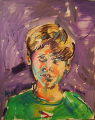 "SOLD P073 2011 'Boy in Green' 16""x20"""