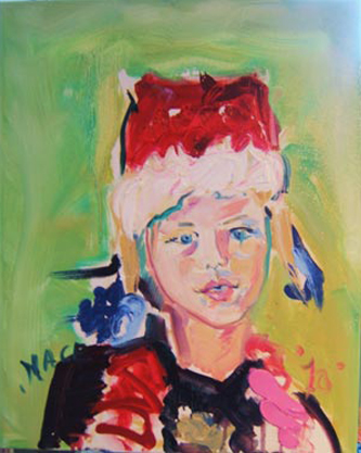 "SOLD P074 2010 'Girl in Santa Hat' 16""x20"""