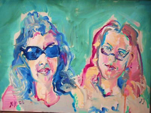 "SOLD P076 'Ladies in Glasses' 24""x18"""