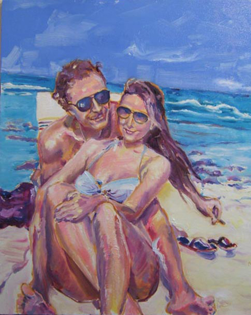 "SOLD P077 2011 'Beach Couple' 24""x30"""
