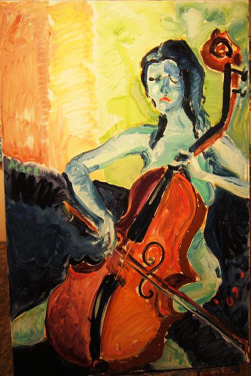 "SOLD P078 2011 'Woman With Cello' 24""x36"""