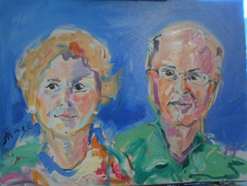"SOLD P086 2011 '70s Couple' 24""x18"""