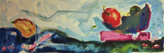"SL003 'Jaunty Fruit' 30""x10"" Oil"