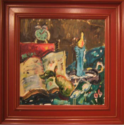"SOLD SL004 'Clock, Candle, Pear' 20""x20"""