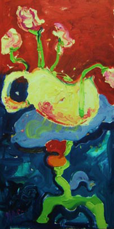 "SOLD SL005 2008 'Yellow Pot with Flowers' 18""x36"""
