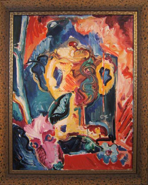 "SOLD SL025 2005 'Stag and Urn' 24""X30"""