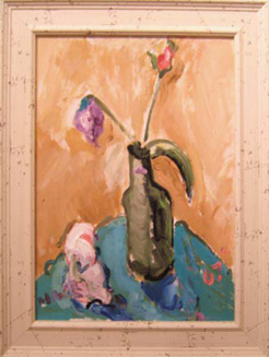 "SL010 'Flowers in Bottle with Napkin' 12""x16"" Oil"