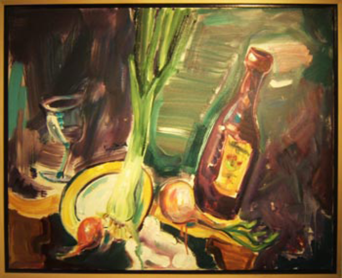 "SOLD SL016 2008 'Leek, Onion, and Wine' 32""x26"""