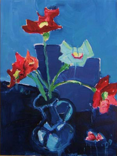 "SOLD SL022 2009 'Flowers in Blue Context' 18""x24"""