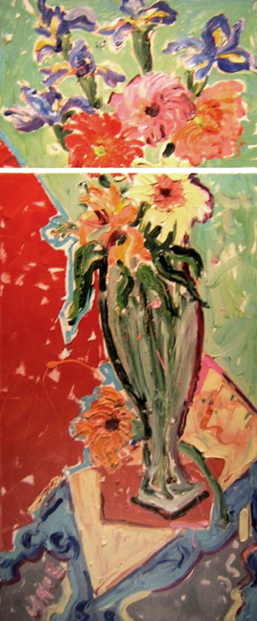 "SOLD SL001 'Floral with Tabouret' Diptych 18"" x 14"" and 18""x36"" (18""x50"" total)"