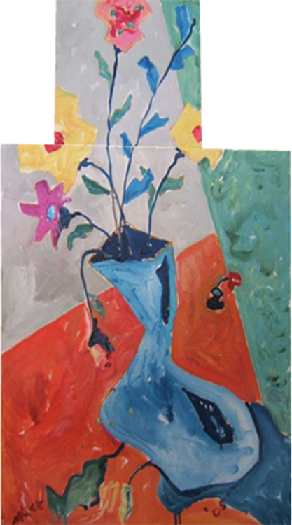 "SOLD SL026 2004 'Dizzy Flowers' Diptych 12""x12"", 20""x24"" (total 20""x36"")"