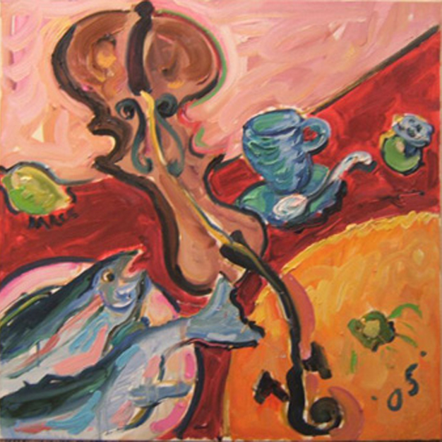 "K020 'Fiddle, Fish & Orange' 30""x30"" (also in Kitchen)"