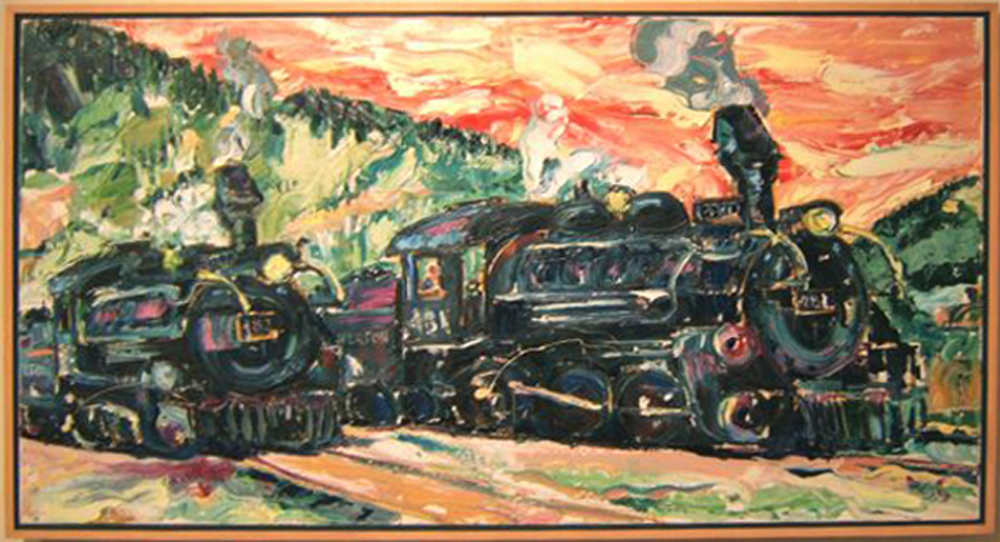 """SOLD T002 2005 """"Iron Horses"""" (Locomotives 481 and 482 in Silverton) 48""""x26"""""""